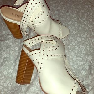 White high heeled sandal